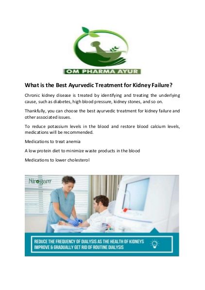 What is the Best Ayurvedic Treatment for Kidney Failure?
